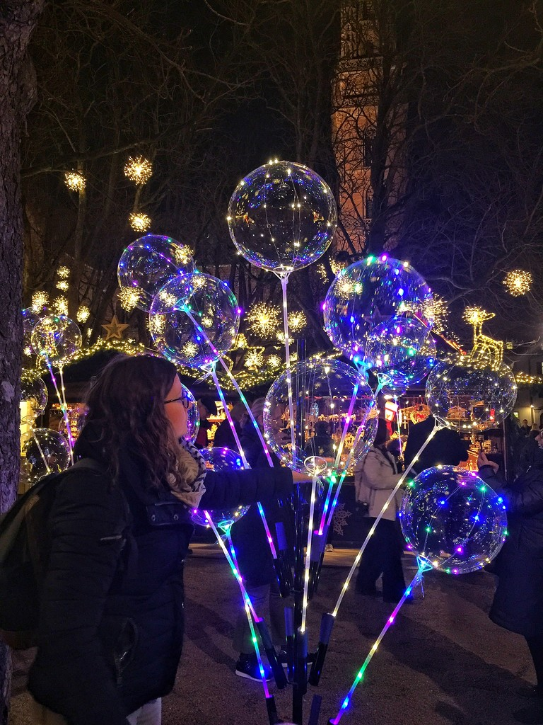Blue lighted balloons.  by cocobella
