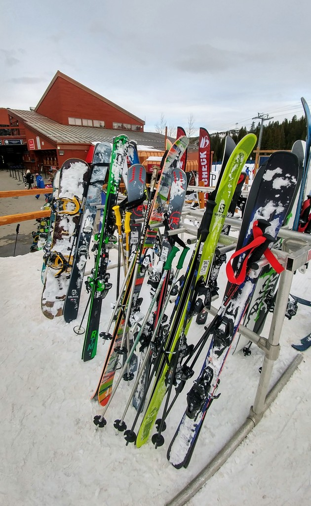 Skis and Snowboards by harbie