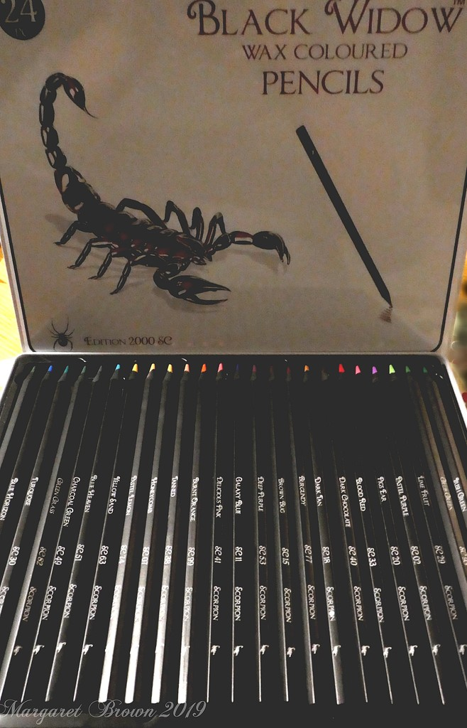 Black widow pencils by craftymeg