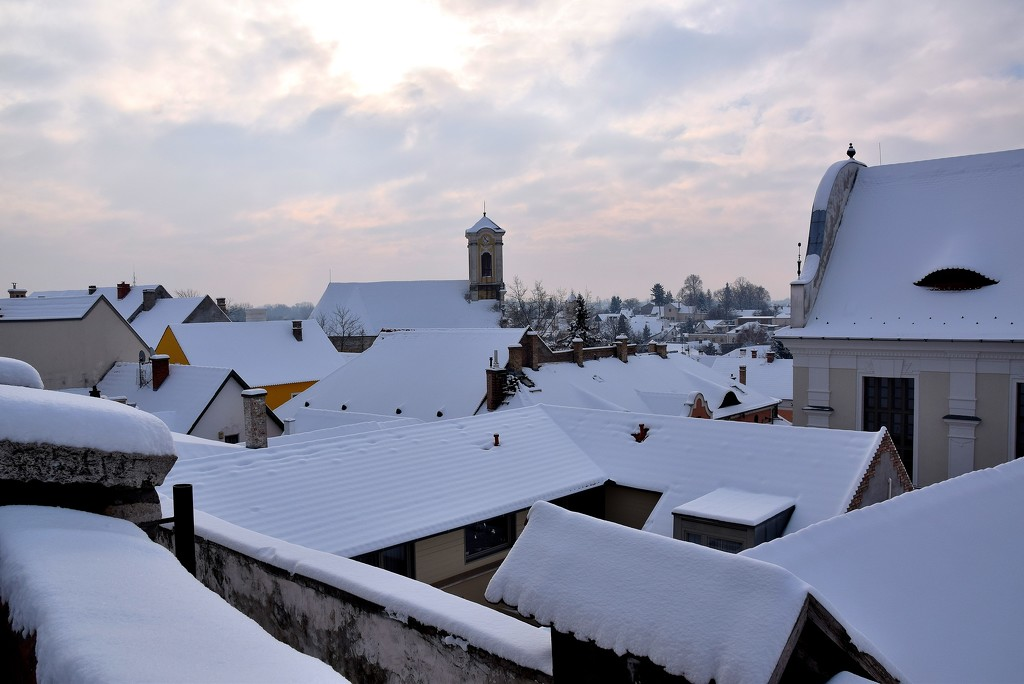 Szentendre rooftops in the winter by kork