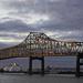 Mississippi River bridge at sunset