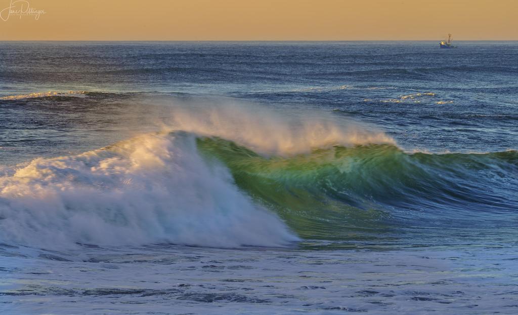 Back Lit Wave at Sunset by jgpittenger
