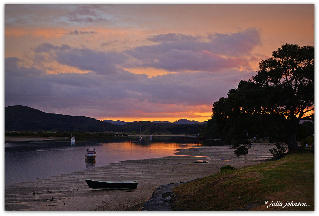 Low tide Ngunguru Estuary Sunset by julzmaioro