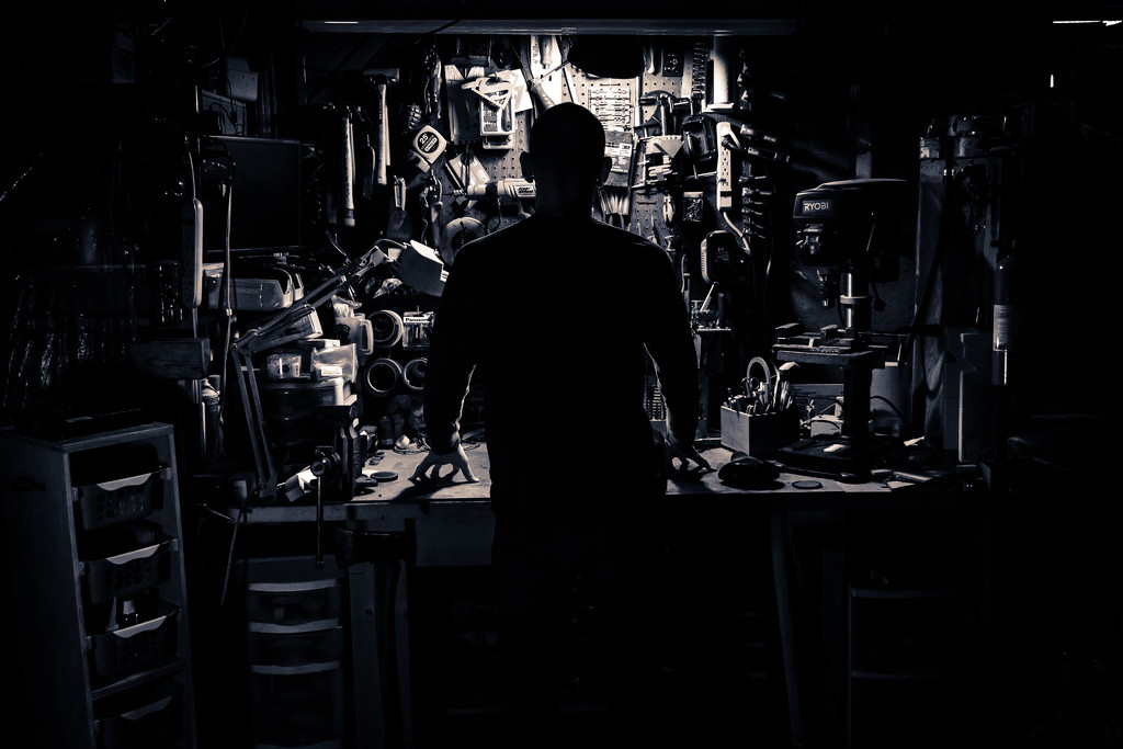 A self portrait, at the workbench. by batfish
