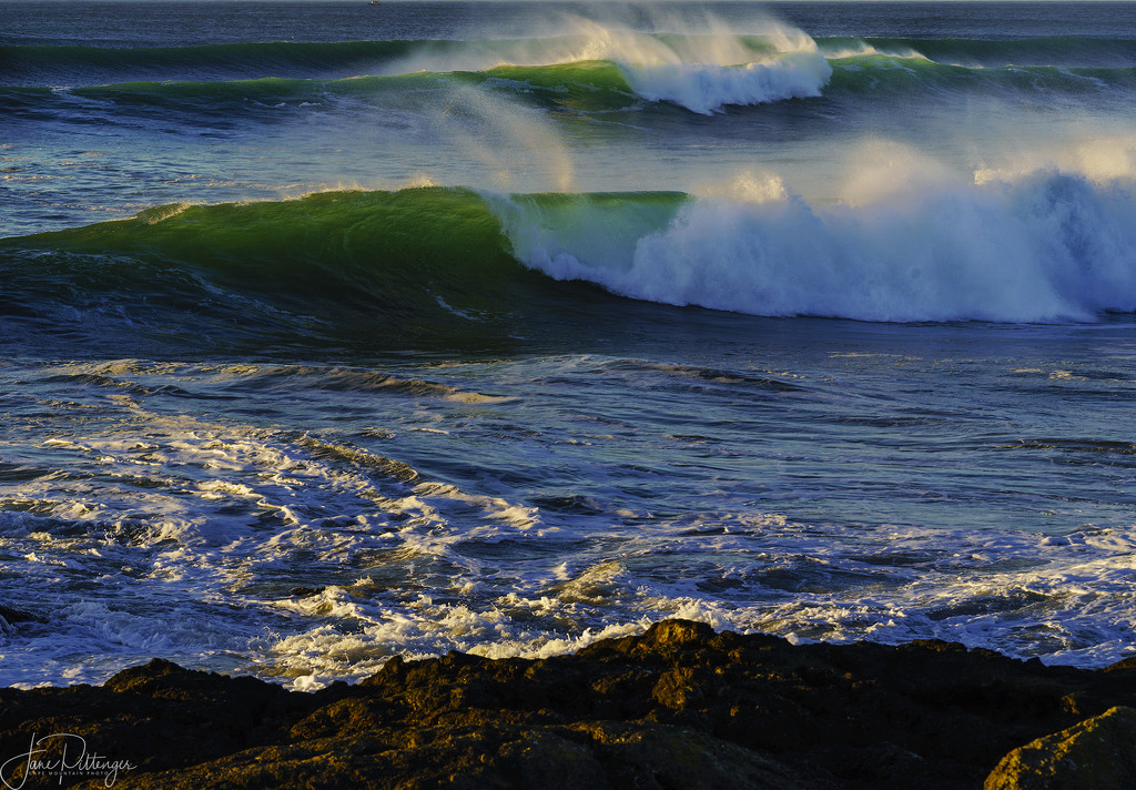 Blue and Emerald Back Lit Waves by jgpittenger
