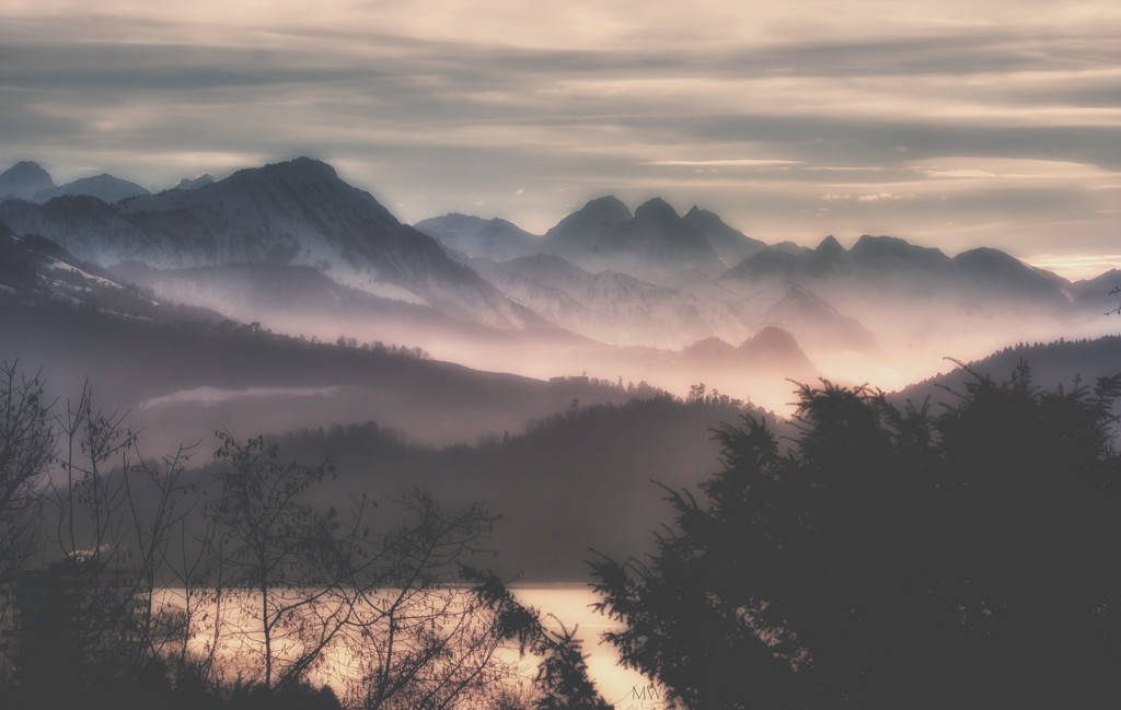 2019-01-16 winter evening over the mountains by mona65