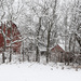 Two Red Barns in Snow by kareenking