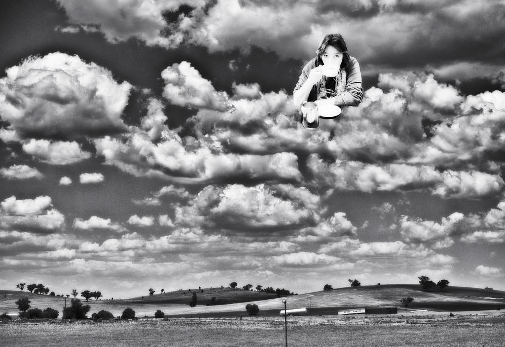 52 Portraits of Me - Levitate - Coffee in the clouds by annied