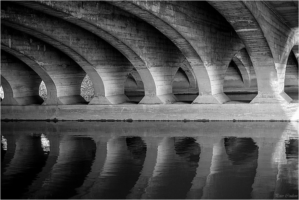 Patterns under a Bridge, black and white by pcoulson