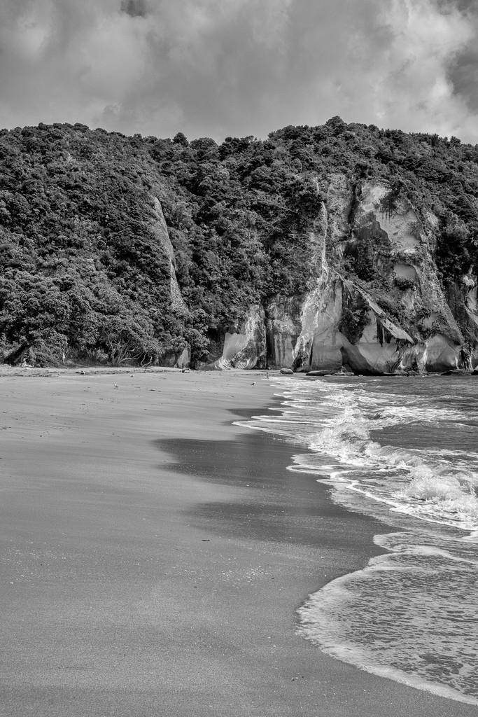 Lonely Beach B&W by yorkshirekiwi