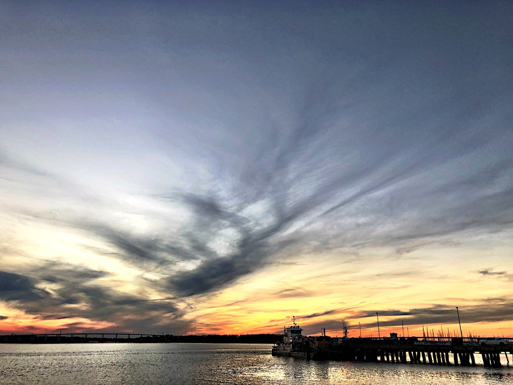 Sunset over the Ashley River, Charleston  by congaree