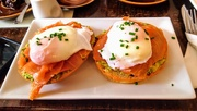 10th Mar 2019 - Smashed avocado, smoked salmon and poached eggs on foccacia in Evelina's Patisserie