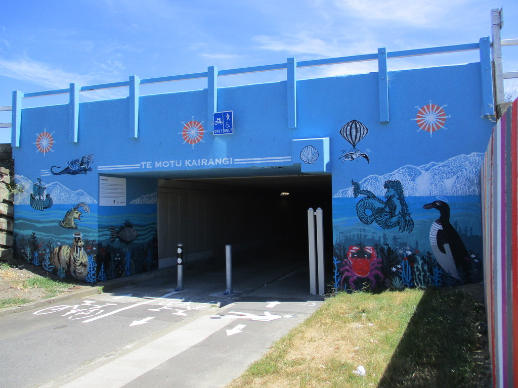 Wall Art on the entrance to the tunnel under the Wellington airport by 777margo