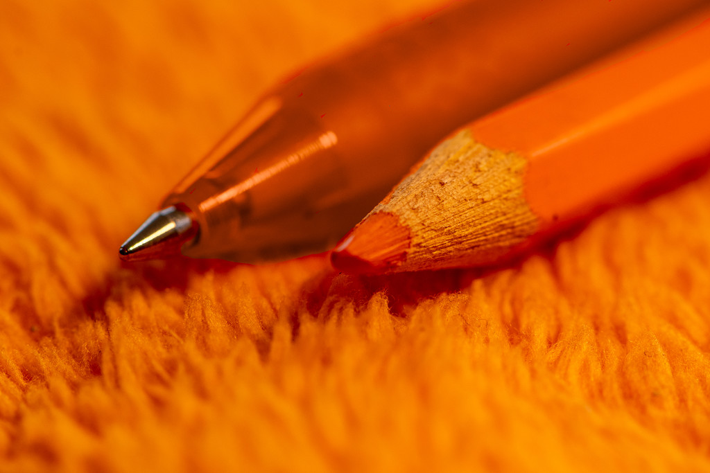 Orange Pen and Pencil by yorkshirekiwi