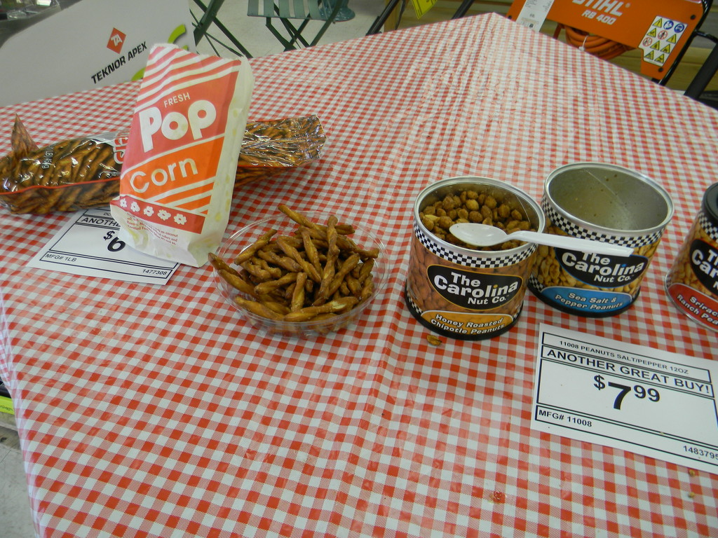 Popcorn, Pretzels and Peanuts at Hardware Store by sfeldphotos