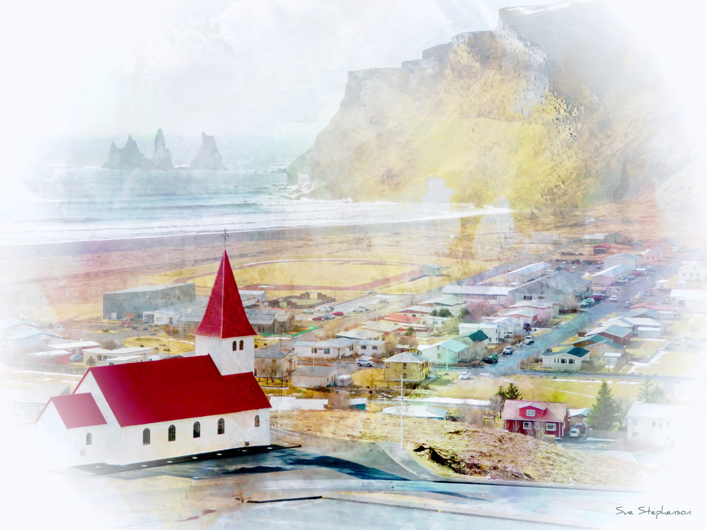 Icelandic Red-roofed church in Vik by Swazzette