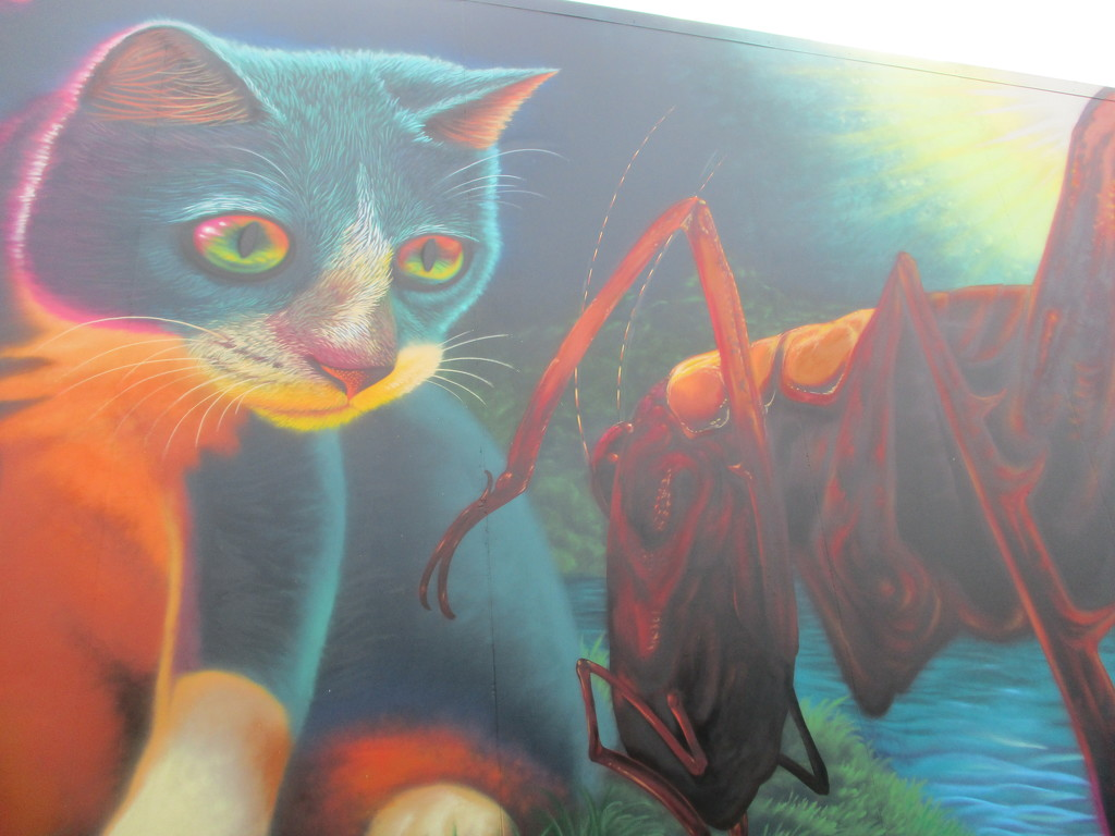Huge wall art of a cat  with a Weta Whangerei by 777margo