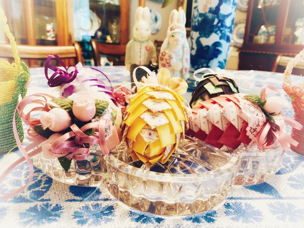 Mother's lace and ribbon Easter eggs  by louannwarren