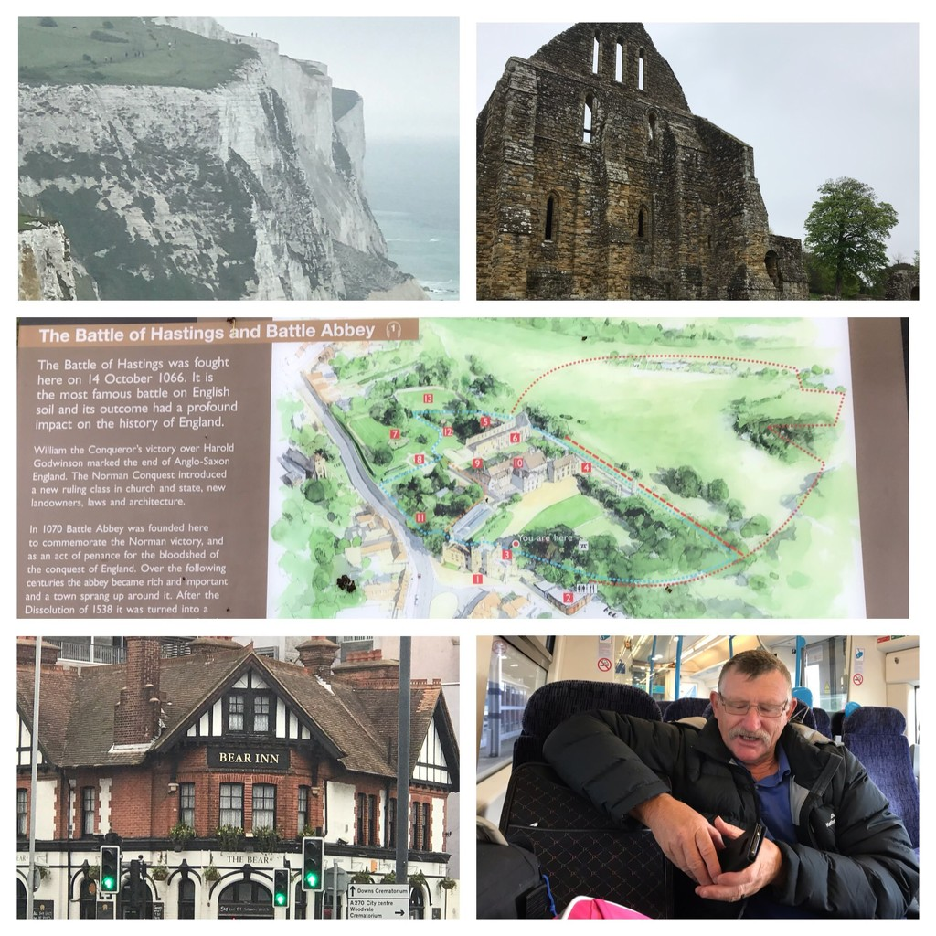 Today 28th saw us visit The Battle of Hastings and Battle of Abbey then on to Dover where we returned our rental car getting a train to London  by Dawn