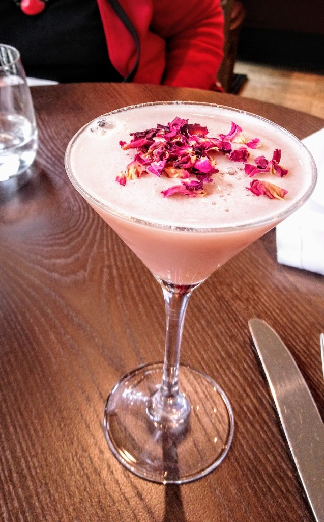 Birthday rhubarb martini with rose petals at Cote Brasserie by boxplayer