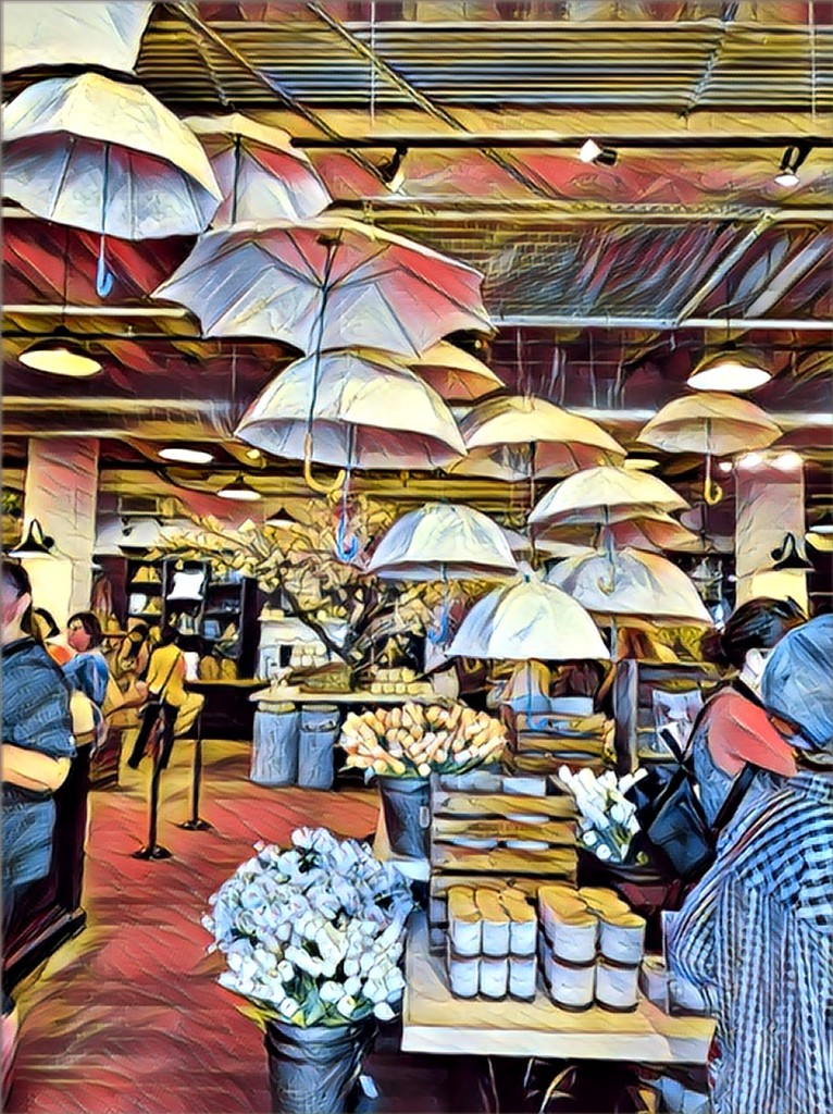Umbrellas as store decorations by louannwarren