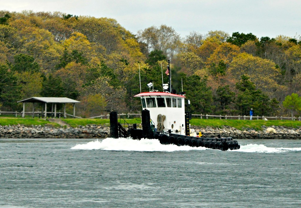 Little pusher tug going thru Cape Cod Canal. by sailingmusic