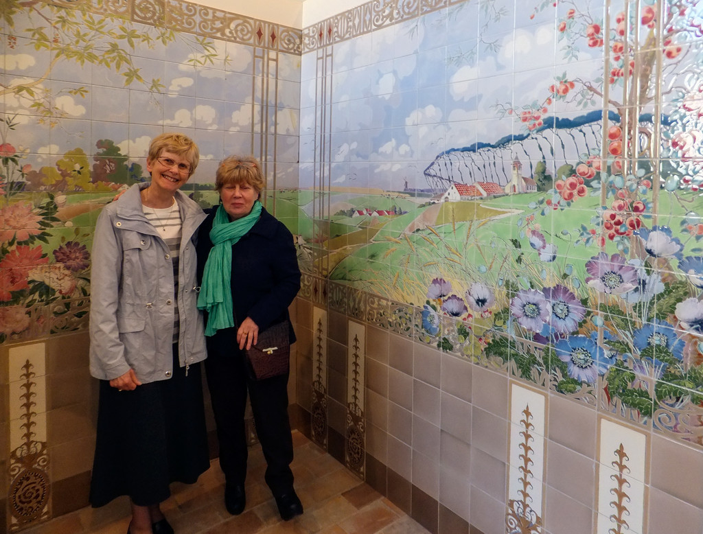 Tina with Maria our guide in the tile museum at Hemiksem, Belgium by ivan