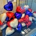 Blue, white and red balloons hearts.
