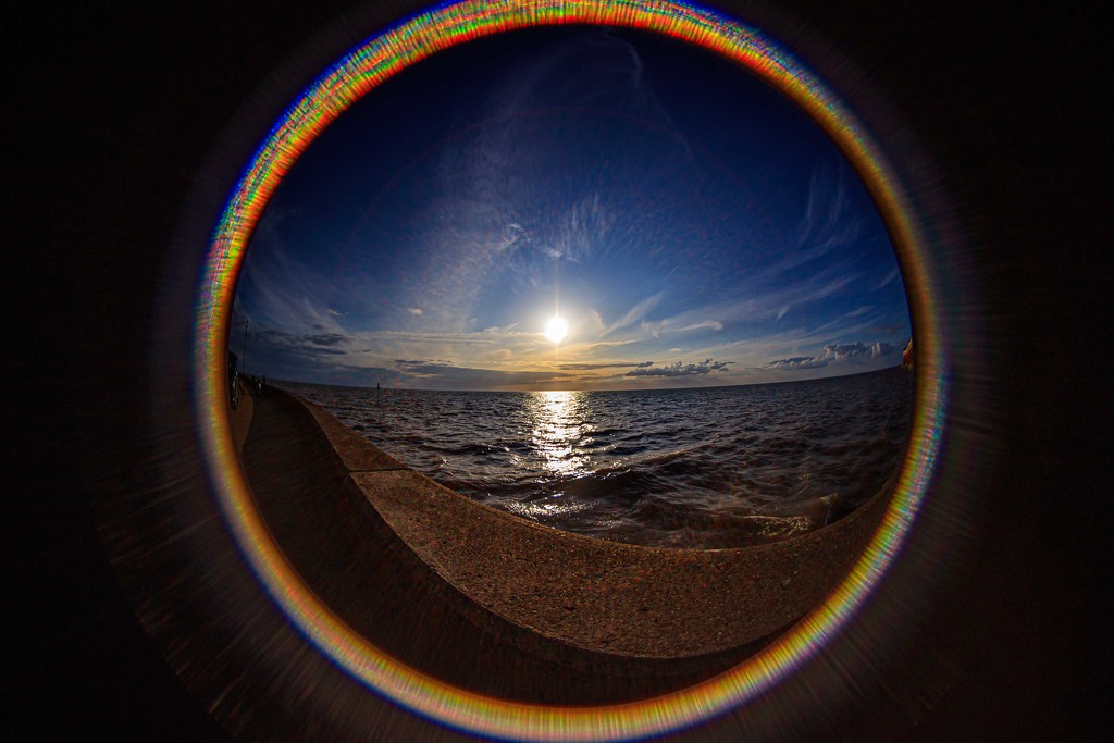 Fish eye sunset Hunstanton by padlock