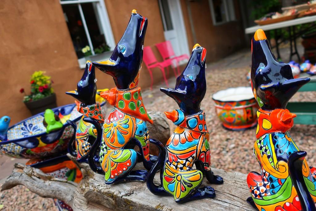 The Talavera Coyotes in Santa Fe by louannwarren