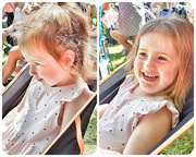 6th Jul 2019 - A cheeky Sophia giggling as she pinches a friends seat when she gets up!