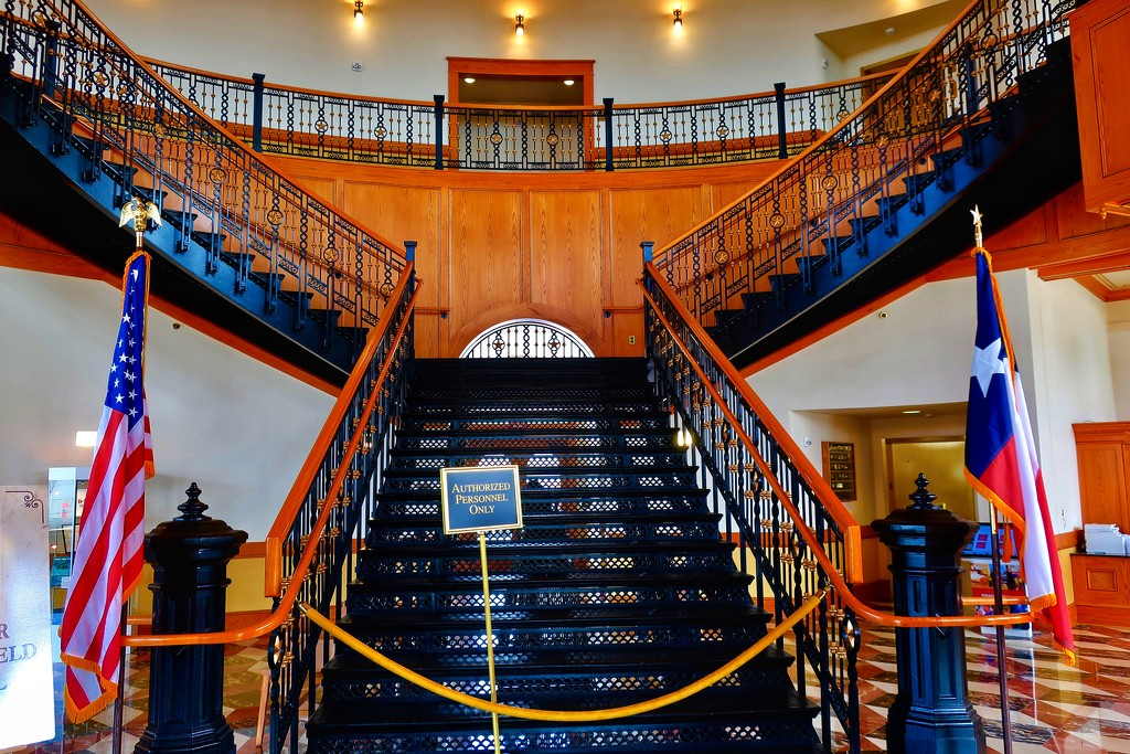 The Cotton Belt Hotel grand staircase, a.k.a. Puffy's Place by louannwarren