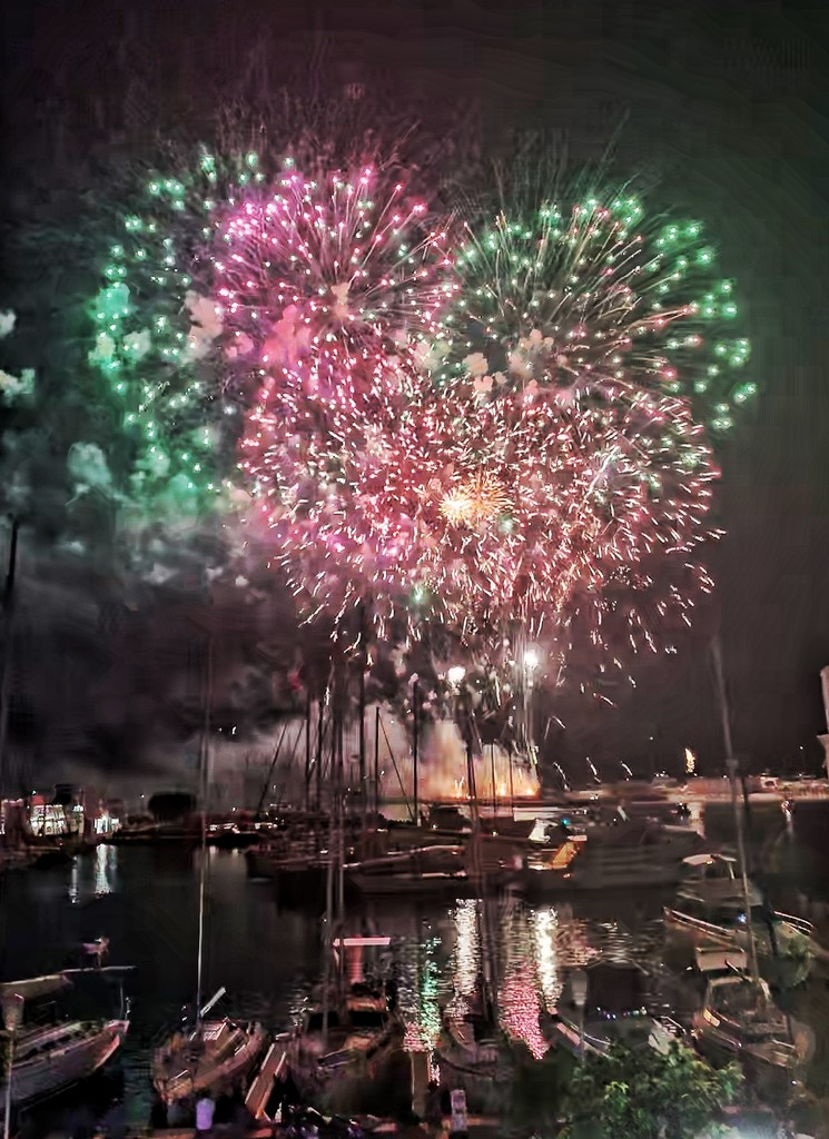 Pink and green fireworks.  by cocobella