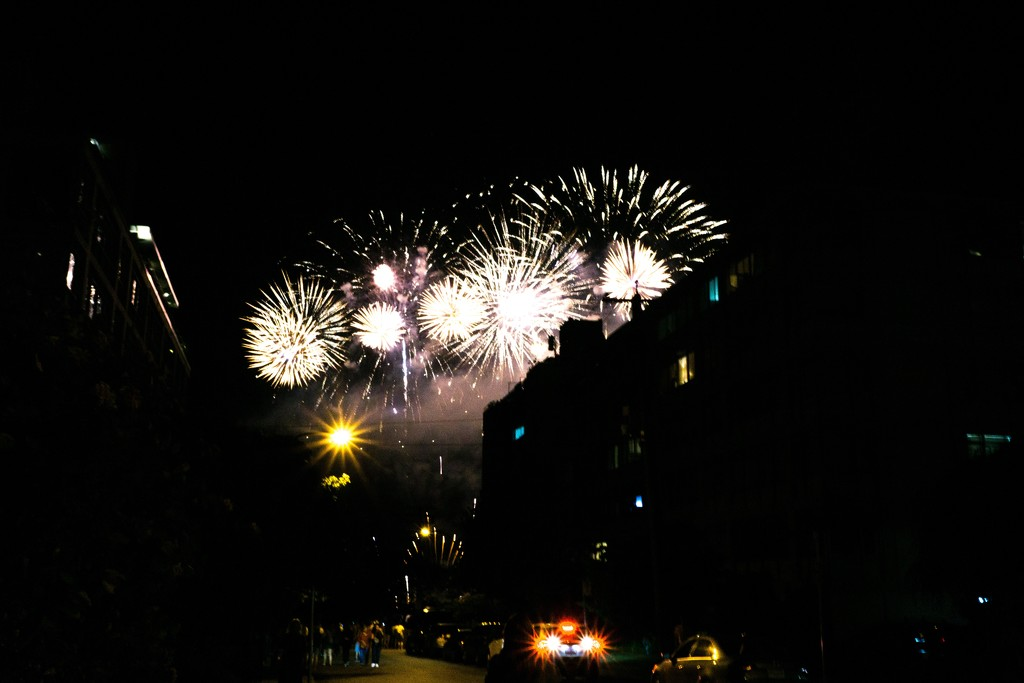 Summer and fireworks in the city by cristinaledesma33