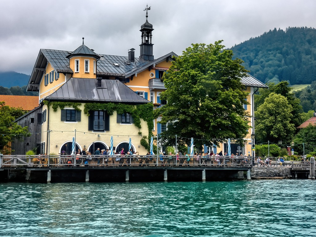 A beer garden on Lake Tegernsee by ludwigsdiana
