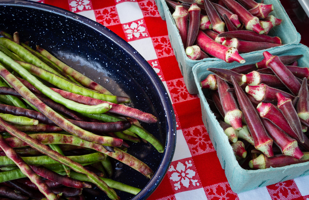 Farm Fresh Beans and Candlefire Okra by kvphoto