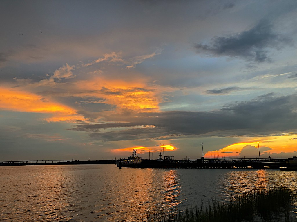Sunset after a storm, Ashley River, Charleston by congaree