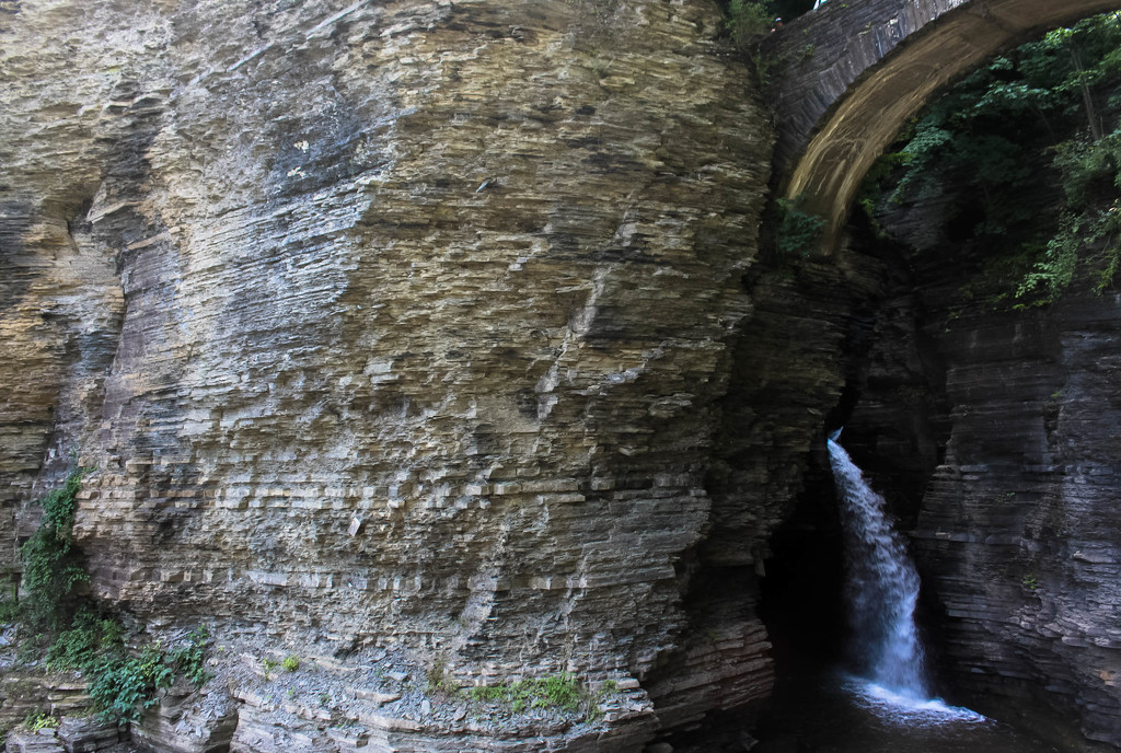 Rock formation and waterfall by mittens