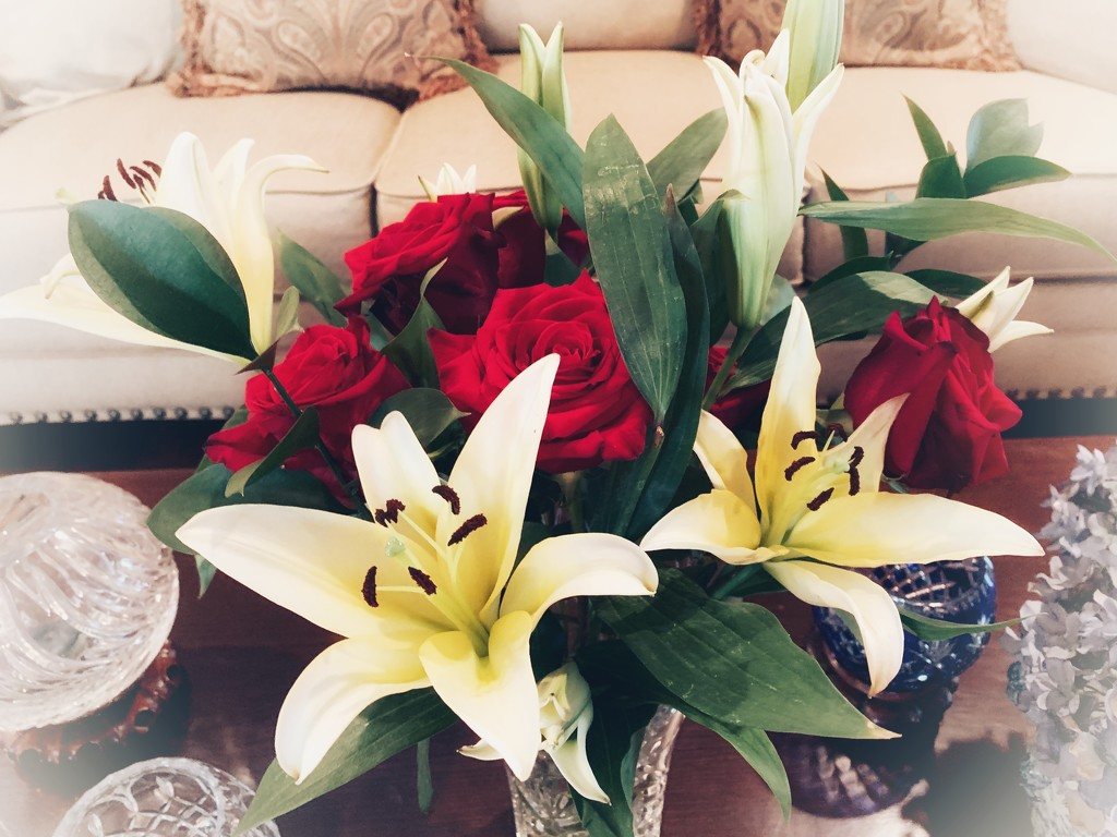 Lilies and roses for my birthday by louannwarren