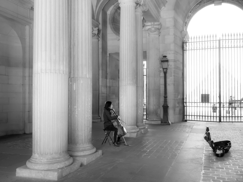 musician at the Louvre by northy