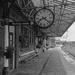 On the Victorian platform (b&w)
