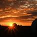 Kansas Sunset, Sunburst, and Haybales by kareenking