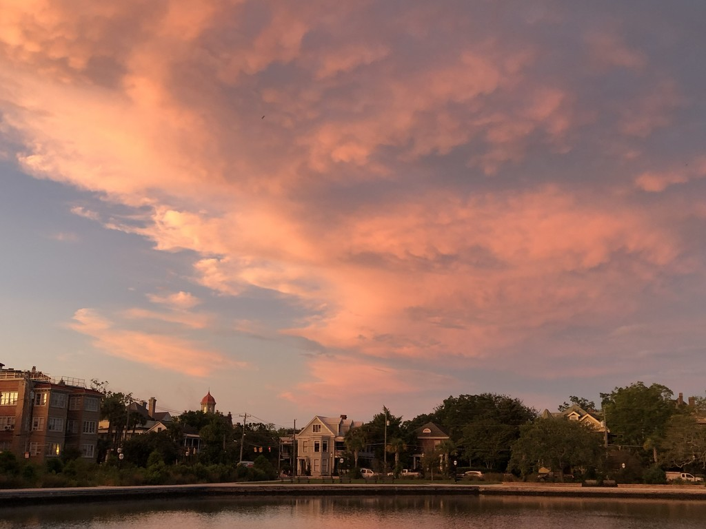 A dramatic sunset over Colonial Lake in Charleston by congaree