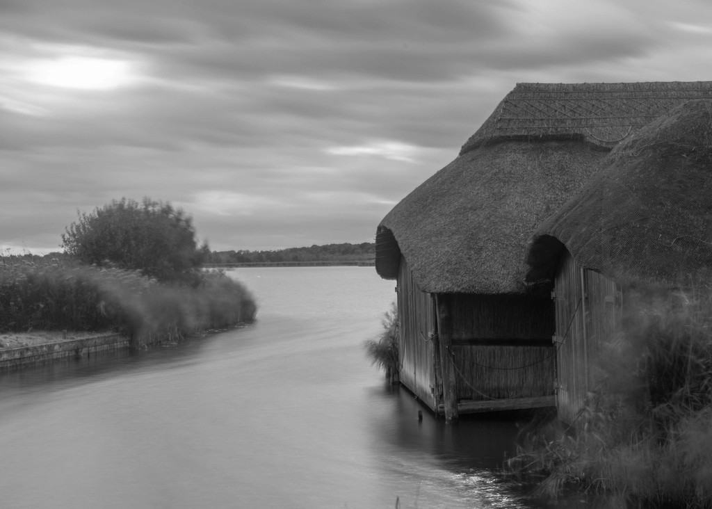Boathouses at Hickling Broad  by shepherdmanswife