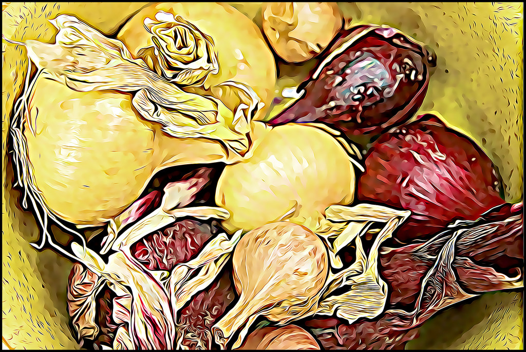 Assorted Onions in a Ceramic Bowl by olivetreeann