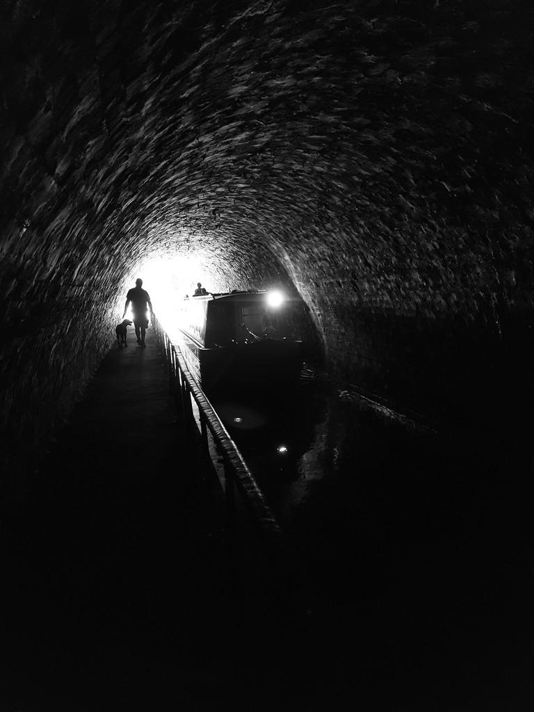 Walking the 421 metre tunnel at Chirk Aquaduct by lyndamcg