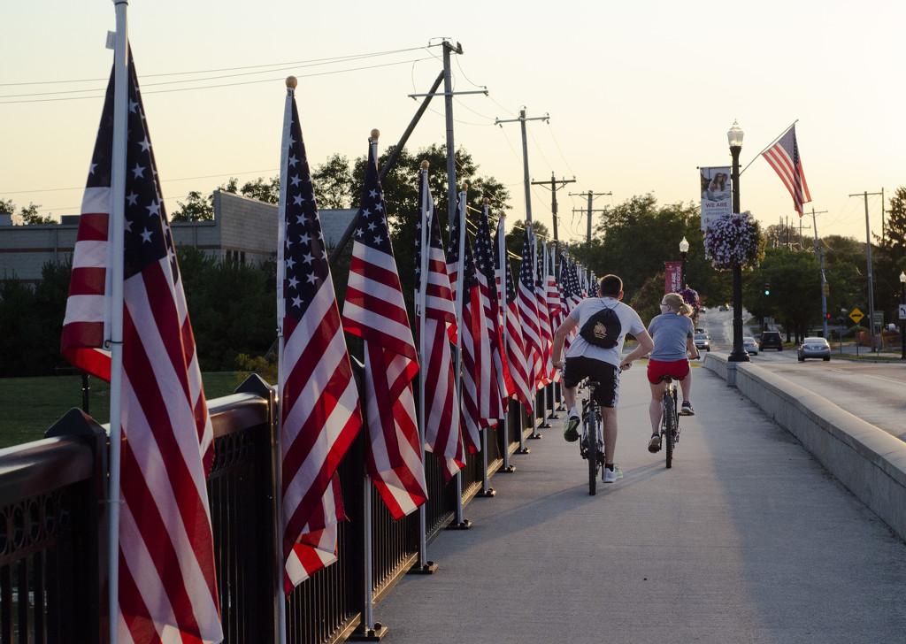 Riding Across Patriot Bridge by ggshearron