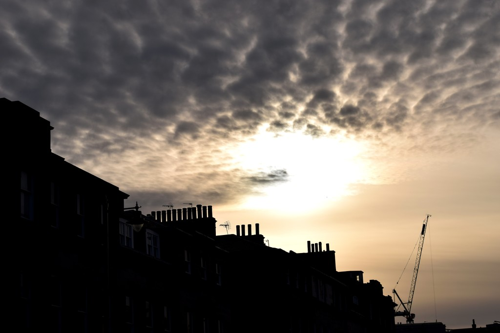 chimneys, crane, clouds by christophercox