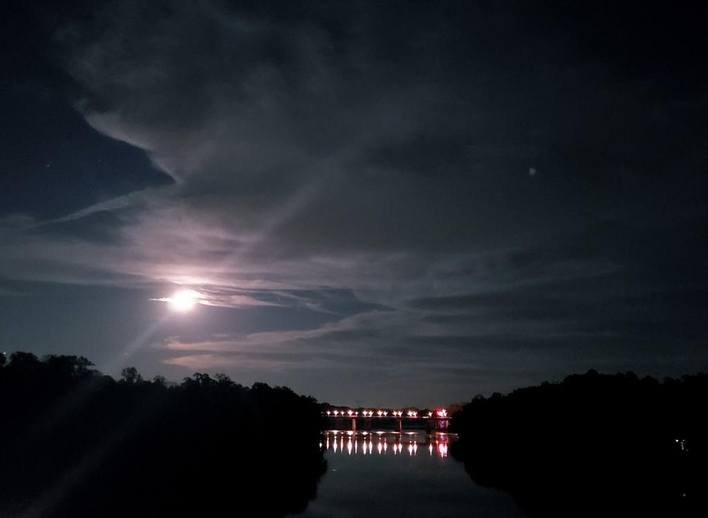 Full Moon over Catawba River by morrij10