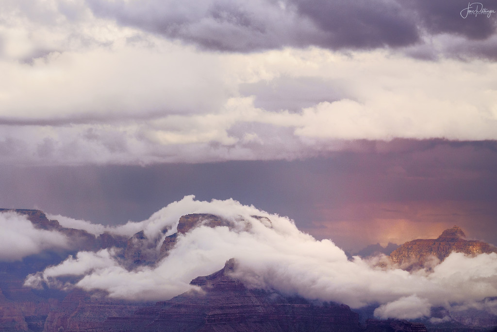Fog Wrapping Around the Peaks In Grand Canyon by jgpittenger